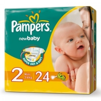 Подгузники Pampers New Baby 2 Mini  ( 3 - 6 кг) 24 шт