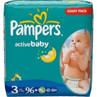 Подгузники Pampers Active Baby 3 Midi ( 4 - 9 кг ) 96 шт